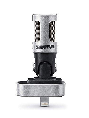 Shure MV88 Portable iOS Microphone for iPhone/iPad/iPod via Lightning Connector, Professional-Quality Sound, Digital Stereo Condenser Mic for Vloggers, Filmmakers, Music Makers & Journalists, Silver