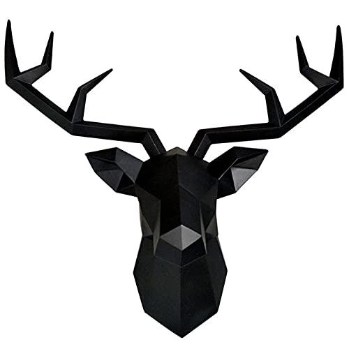 XYF Ornamento Testa di Cervo Testa Cervo da Appendere Cervo da Parete Creativo Scultura da Parete Geometria Decorazione Murale Testa di Cervo da Parete Resina (Color : Black, Size : 50 * 49cm)
