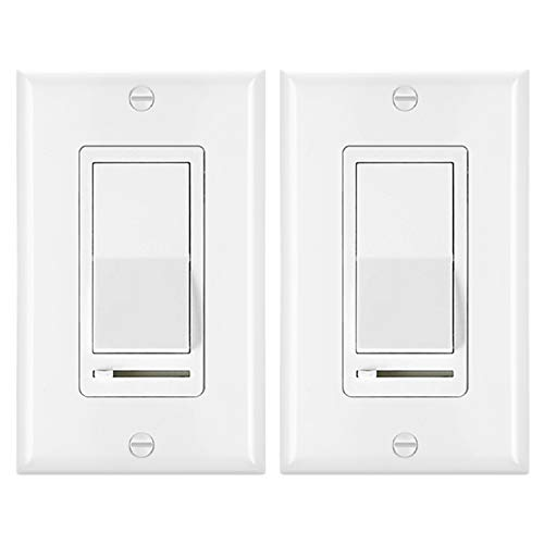 [2 Pack] BESTTEN Dimmer Light Switch, Universal Lighting Control, Single Pole or 3 Way, Compatible with LED Dimmable Lamp, CFL, Incandescent, Halogen Bulb, Decorative Wall Plate Included, White