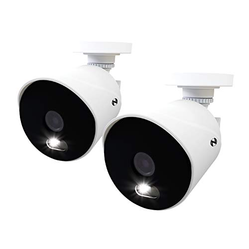 Night Owl 4K Ultra HD Wired Indoor/Outdoor Add-On Cameras with Built-in Motion-Activated Spotlights, 100 ft. of Night Vision, Wide Viewing Angle and Color Night Vision (2-Pack)