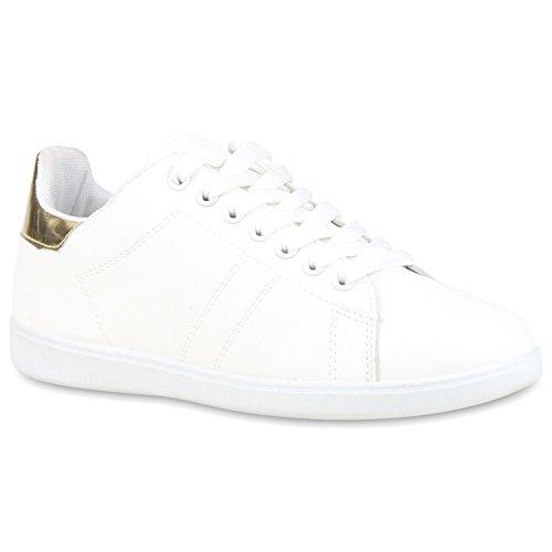 Damen Sneakers Sneaker Low Cap Sport Leder-Optik Freizeit Schnürer Prints Samt Trainers Allyear Schuhe 117742 Weiss Weiss Gold 38 Flandell