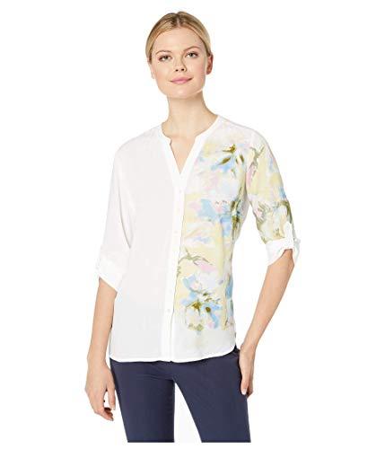FDJ French Dressing Damen Bluse, Blended Blumendruck, 3/4 Tab Up Ärmel - Weiß - 36