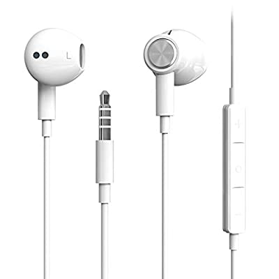 Hi-Res Extra Bass Earbuds Noise Isolating In-Ear Headphones Wired Earbuds with Microphone for iPhone, iPod, iPad, MP3, HUAWEI, Samsung, Lightweight Earphones with Volume Control 3.5mm Jack Headphones by Benewy