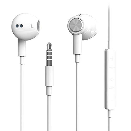 Auriculares,Auriculares magnéticos in-Ear con Micrófono,Headphone Sonido Estéreo,cancelación de Ruido y Sonido Envolvente,para iPhone,Android y PC-Blanco