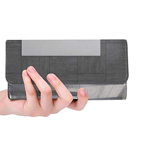 Einzigartige benutzerdefinierte Badezimmer innen grau geflieste Wand weiß Frauen Trifold Brieftasche Lange geldbörse kreditkarteninhaber Fall Handtasche
