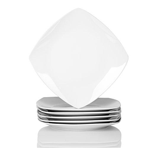 """MALACASA, Série Julia, 6pcs Assiettes Plates Porcelaine, Assiette à Dinner Blance 9.25"""", Assiettes Plats de Services pour 6 Personnes"""