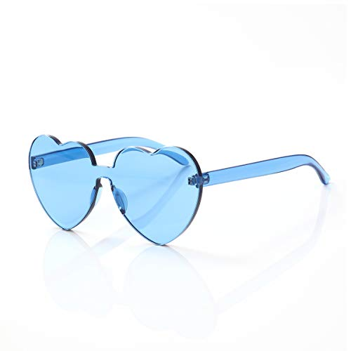 OLINOWL Heart Oversized Rimless Sunglasses One Piece Heart Shape Eyewear Colored Sunglasses for Women, Light Blue