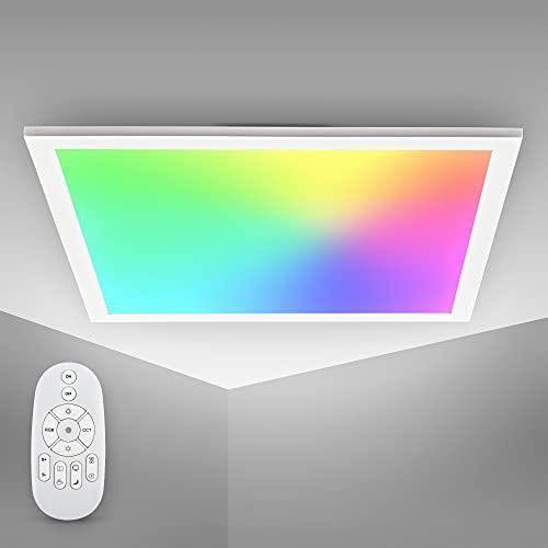 B.K.Licht panel LED RGBW carré, 7 couleurs, lumière blanche réglable entre blanc chaud CCT, neutre & froid, télécommande, plafonnier ultra slim pour bureau, 450x450x42mm
