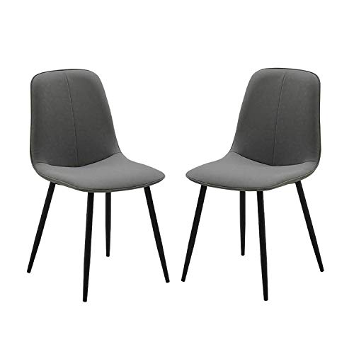 Set of 2 Faux Leather Dining Chair Modern Style Dining Chair with Sturdy Black Metal Legs Flame Retardant Leather Easy Assembly (Color : Gray)
