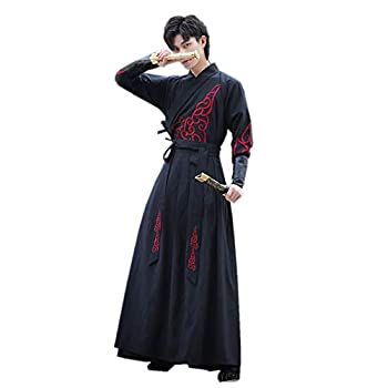 Costume Chinese Traditional Hanfu Cosplay Men s Long Robe Unisex Embroidered Adult Clothing Set Black