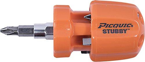 Picquic 49106 STUBBY multi-bit screwdriver with six bits, Bright Orange Opaque