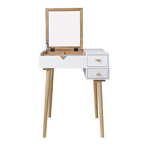 Equipo diario Juego de mesa de maquillaje Tocador Mesa de maquillaje con espejo con tapa abatible Escritorio de madera de goma maciza para niñas Juego de dormitorio para mujeres (Tamaño del color: