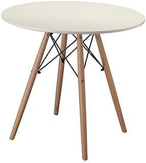 Table à manger ronde blanche moderne avec pieds en bois de hêtre 80X80X75 cm