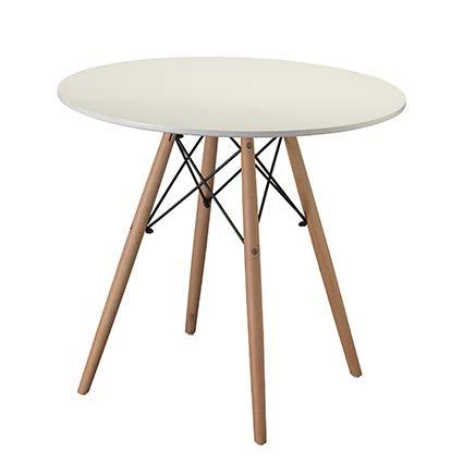 Tavolo da Pranzo Rotondo Bianco Modern con Gambe in Legno di faggio 80X80X75 (Bianco)