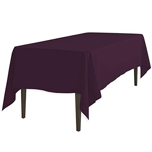 LinenTablecloth 60 x 102-Inch Rectangular Polyester Tablecloth Eggplant