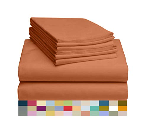 "LuxClub 6 PC Sheet Set Bamboo Sheets Deep Pockets 18"" Eco Friendly Wrinkle Free Sheets Hypoallergenic Anti-Bacteria Machine Washable Hotel Bedding Silky Soft - Autumn Orange Queen"