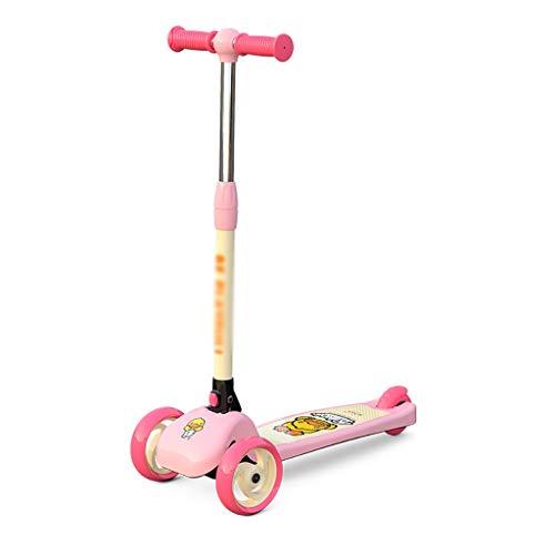 Patinete Scooter de 3 Ruedas con Scooter de Altura Ajustable Plegable para Niños de 2 A 12 Años de Edad Magra para Dirigir (Color : Pink)