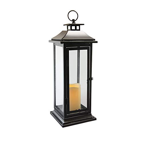 Traditional Metal LED Lantern with Battery Operated Candle Black