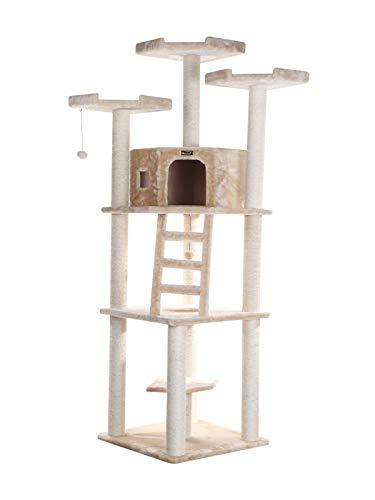 204cm hoher Kratzbaum mit großer Schlafhöhle, Katzentreppe und 3 x Aussichtsplattform emissionsarme Materialien in der Farbe Beige