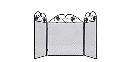 Zerone- Kamin Funkenschutzgitter,3-TLG Eisen Funkenschutzgitter Faltbar Kamingitter aus Eisen Schwarz 102 x 61 cm
