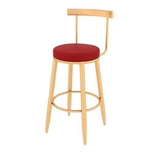 Taburetes creativos, sillas de Cocina en el Pub, Silla de Bar en el Bar del Desayuno, Asiento tapizado en Terciopelo, Patas de Metal Dorado, Rojo