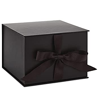 Hallmark 7  Large Black Gift Box with Lid and Shredded Paper Fill for Christmas Hanukkah Fathers Day Graduations Weddings Birthdays Grooms Gifts Engagements