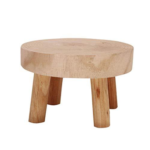 SUREH Soporte de madera para plantas en maceta, pequeño rounf para macetas de madera, para interiores y exteriores, decoración rústica