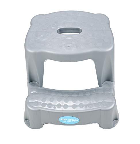 2 Tritt-Hocker für Kinder als Stehhilfe fürs Waschbecken und zum Sitzen, gummierte Füße, 2 Stufen, aufgeraute Stehfläche, Eingriff zum Tragen Tragkraft max. 45 kg (Hellgrau)