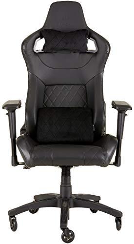 Corsair T1 Race Silla de Oficina, para Videojuegos, Polipiel, fácil de ensamblar, giratoria ergonómica, Altura Ajustable y reposabrazos 4D, Asiento cómodo y reclinable, Negro, 134 x 58 x 58 cm