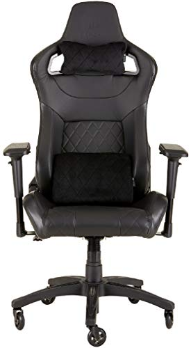 Corsair T1 Race, Faux Leather Racing Gaming Office Chair, Easy Assembly, Ergonomic Swivel, Adjustable Height and 4D Armrests, Comfortable with Recliner, Black