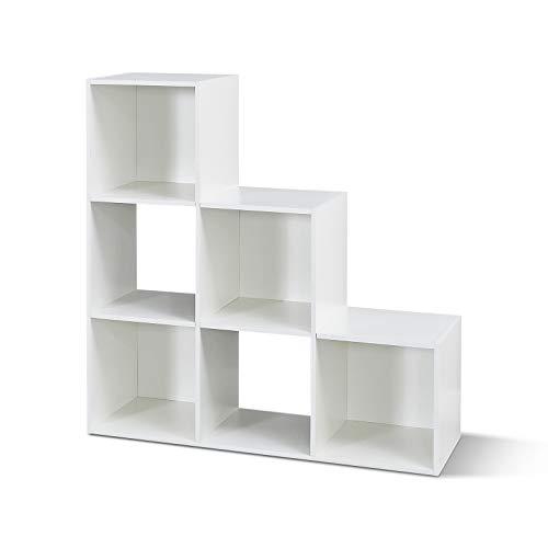 Mondeer Bücherregal, Treppenregal 6 Würfel-Fächer, aus Holz Modern für Wohnzimmer Schlafzimmer Kinder, Weiß Regal 90,5 x 90,5 x 29 cm