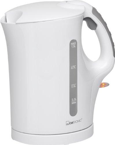 Wasserkocher 1 Liter Kabellos Edelstahl Heizelement Kalkfilter 900 Watt (Überhitzungsschutz, Automatische Abschaltung, Sicherheitsklappdeckel, Weiß)