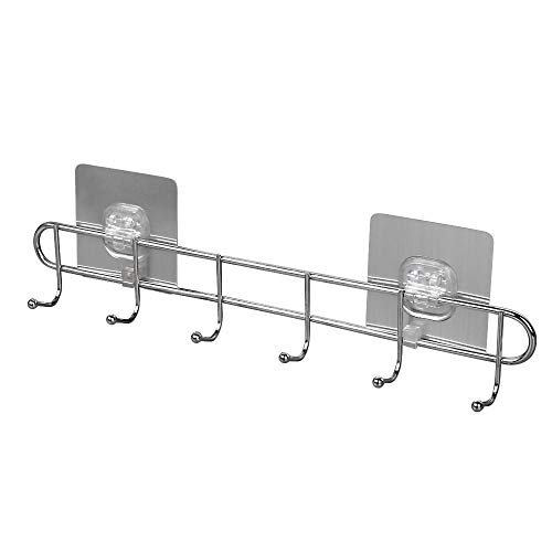 Kitchen Hooks No Drilling - Stainless Steel Hanging Rack Rail Organize Kitchen Tools with 8 Utensil Hooks for Towel Coats Bathrobe Wall Mounted Hanger 8 Hooks