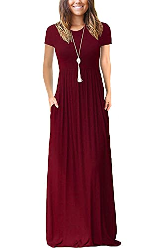 VIISHOW Women Summer Short Sleeve Loose Plain Long Maxi Casual Dress with Pockets (Wine red X-Small)