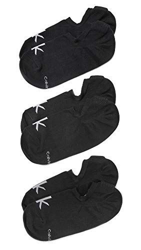 Calvin Klein Underwear Men's 3 Pack Logo Liner Socks, Black, One Size