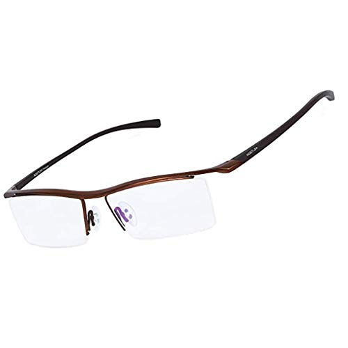 QIAO Mens Pure Titanium Halbrandlose Brillen Business Optische Brillengestell Klare Linse (Farbe : B)