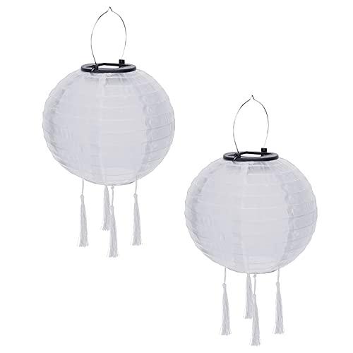 Farolillo solar de papel, farolillos solares, multicolor, guirnalda de luces LED, lámpara solar colgante, bola china, farolillo con borlas, paquete de 2 (blanco)