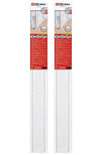tesamoll Zugluftstopper für Glatte Böden in Grau / Zuschneidbare Türbodendichtung für Schutz vor Zug und Lärm / 95cm x 25cm (2 Stück Weiß)