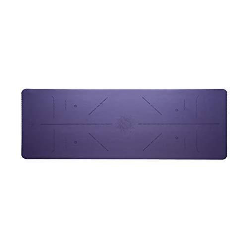 WYH PU Esterilla de Yoga Antideslizante de la Estera del Entrenamiento con la alineación Líneas Correa de Transporte Tipos de Yoga Pilates y Ejercicios (Color : Purple)