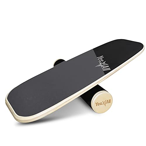 Yes4All Premium Bongo Board/Balance Board Trainer with Adjustable Stoppers | Balance Board for Surfers, Hockey, Snowboard (Gray/Black)