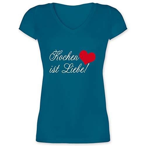 Küche - Kochen ist Liebe - L - Türkis - 32 - XO1525 - Damen T-Shirt mit V-Ausschnitt
