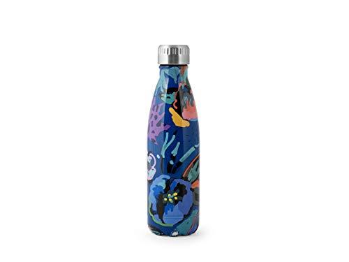 H&H Botella térmica de acero inoxidable 18/10 sin BPA, botella de agua reutilizable, para adultos y niños, termo de metal para bebidas calientes o frías con diseño estampado de flores, 500 ml, Azul