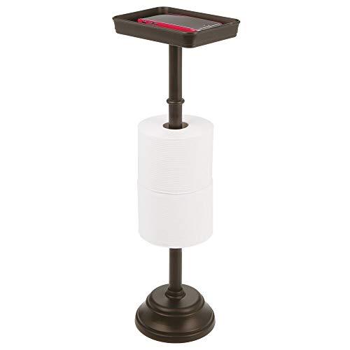 mDesign Toilettenpapierhalter für zwei WC-Rollen – zeitloser Papierrollenhalter mit Ablagefläche – Klopapierhalter und Ablage für Bücher, Handys etc. – bronzefarben