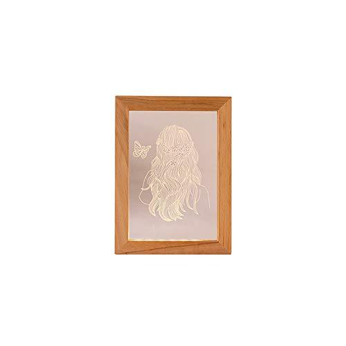 Personalizadas imágenes o textos se pueden personalizar lámpara 3D luz nocturna de regalo para niños decoración de dormitorio luz nocturna LED marco de fotos lámpara de mesa de madera maciza regalo