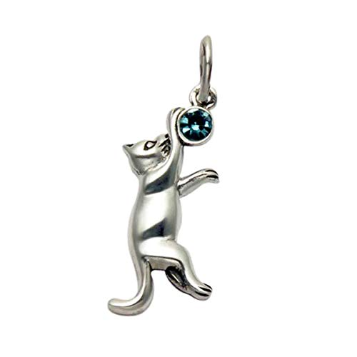Wild Things Sterling Silver Jumping Cat Pendant w/Faceted Blue Crystal Stone