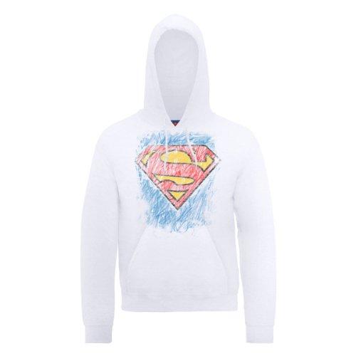 DC Comic DC0000306 Official Superman Crayon Logo Sweat-Shirt à Capuche, Blanc-Blanc, Large Homme