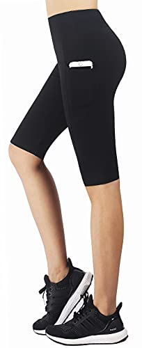 Zinmore Women's Knee Length Tights Yoga Shorts Workout Pants Running Leggings with Pockets Black XL