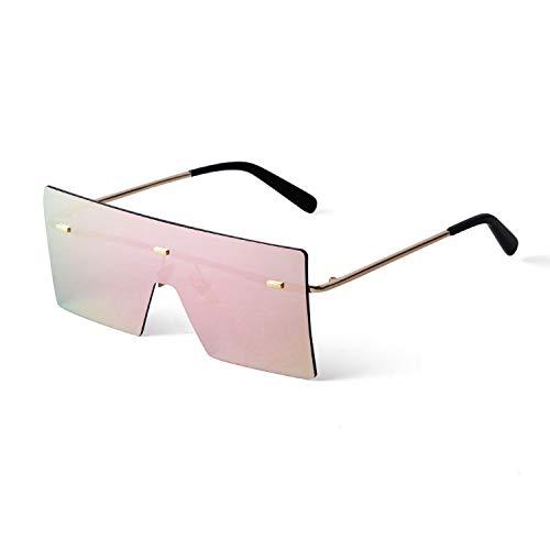 ADE WU Gafas de sol sin montura con parte superior plana y rectangular, Marco dorado rosa lente espejo, X-Large