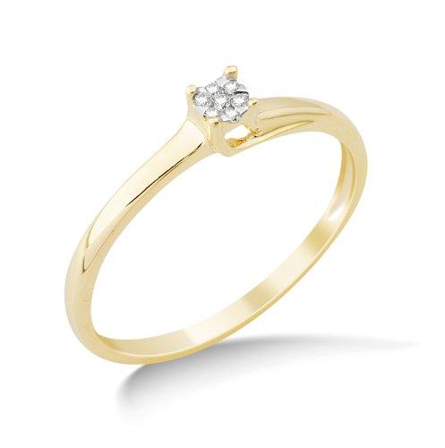 Miore MG9137R2 - Anillo de oro amarillo de 9 quilates con diamante (.05), talla 12 (16,56 mm)