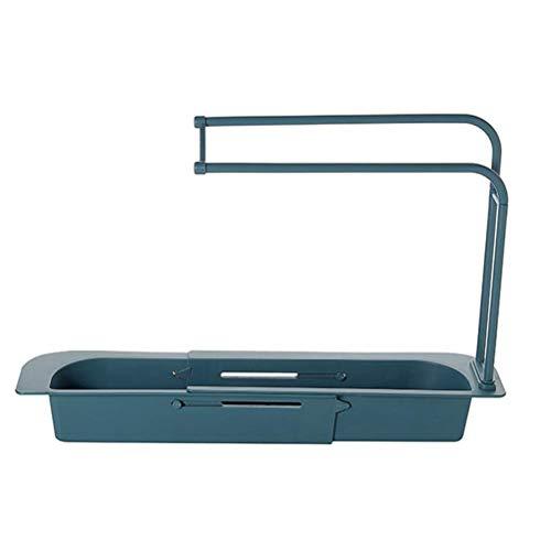 Cesta de almacenamiento para cocina, baño, estante telescópico ajustable para fregadero, escurridor de esponja, estante de ducha con fácil de desmontar y lavar, para cuarto de baño, lavado, cocina